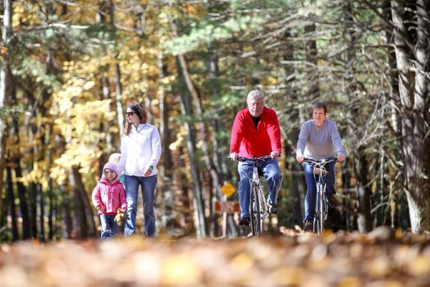 biking and hiking in fall