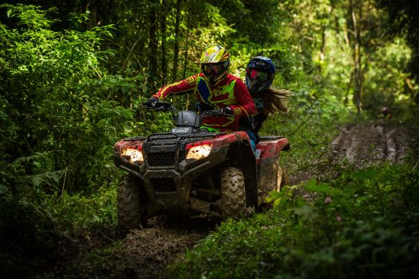 ATVing in the woods