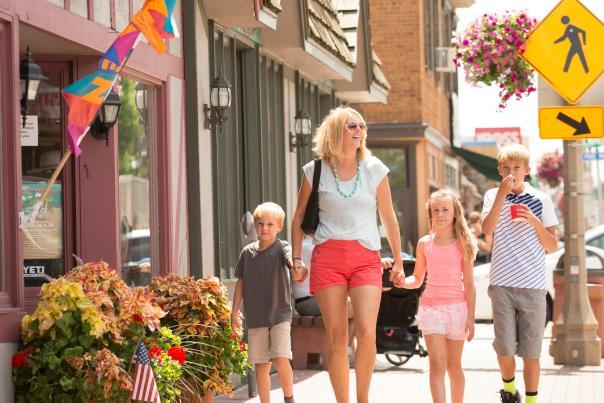 family walking downtown