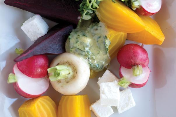 Roasted Beets with Radishes and Farmer's Cheese Tarragon Aioli