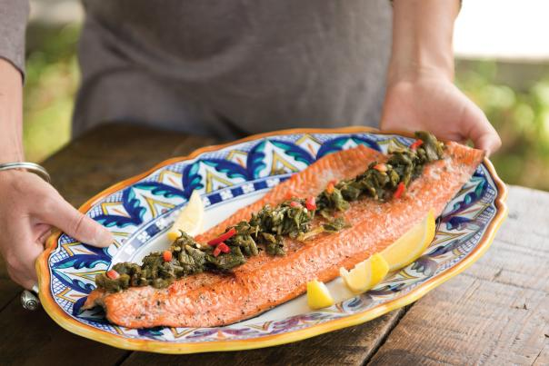 Grilled Copper River Salmon with Green Chiles