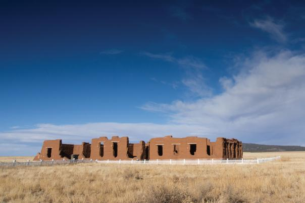 The eroded buildings at Fort Union National Monument