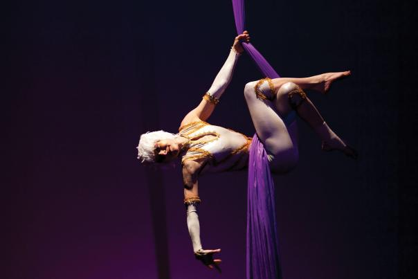 Amy Christian performs on aerial silk during a Circus Luminous production