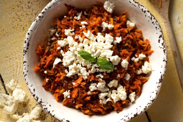 Carrot Salad with Harissa, Feta, and Mint