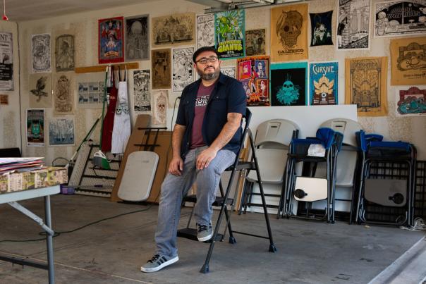 Jon Sanchez in his studio