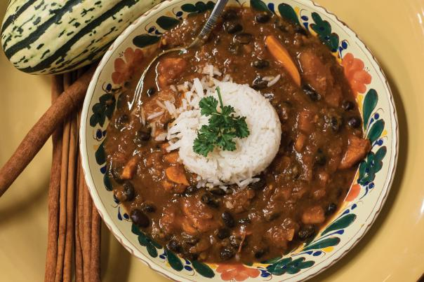 Amed Obo's Curried Black Bean and Butternut Squash Stew