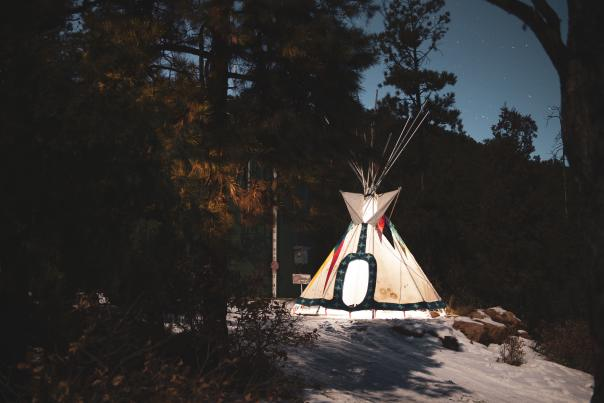 Cannupa Hanska Luger, of Mandan, Hidatsa, Arikara, Lakota, and European descent, makes installations that hearken to his Plains background.