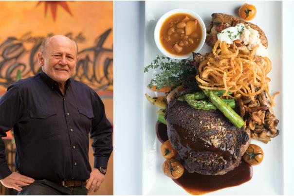 Chef Mark Millar and the Cowboy Steak and Onion Rings dish from Coyote Cafe.