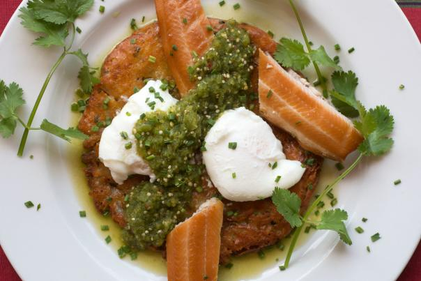 Smoked Trout Has with Poached Eggs and Tomatillo Salsa