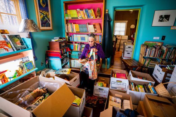 Named in honor of Chávez's late sister, Faride, this room at Casa Camino Real has transformed into Libros para el Viaje's book distribution center.