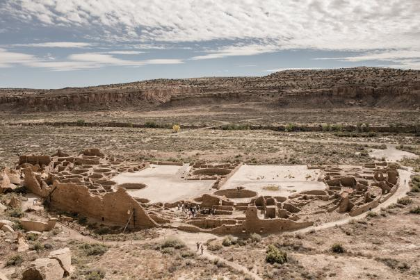 Pueblo Bonito as seen from a mesa in Chaco Culture National Historic Park, i.e Chaco Canyon