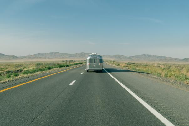 RV Trailer on the road