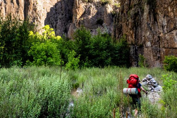 Copy of A backpacker on a loop of the West and Middle Forks of the Gila River