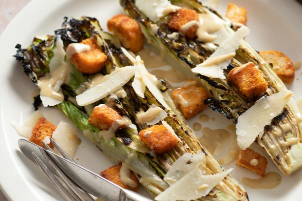 Grilled Southwest Caesar Salad with Cumin Croutons