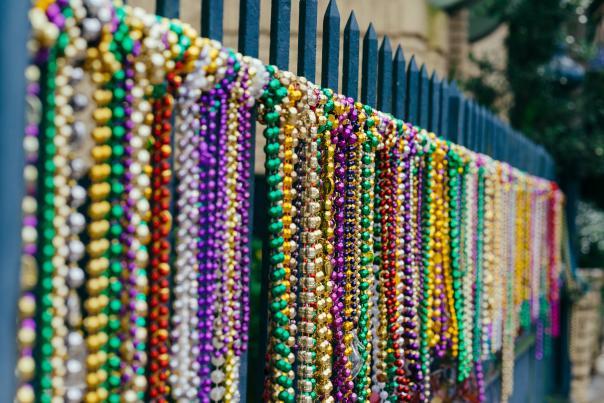 Mardi Gras Bead Fence - Garden District