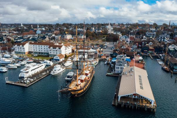 Aerial View Of Boats And Port In Newport, RI