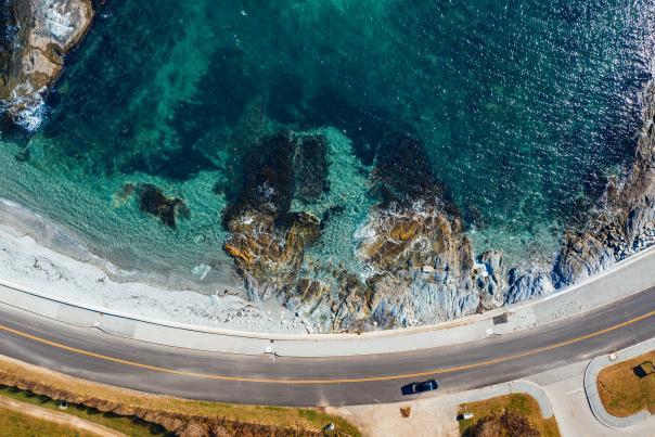Ariel Ocean View of Ocean Drive in Rhode Island