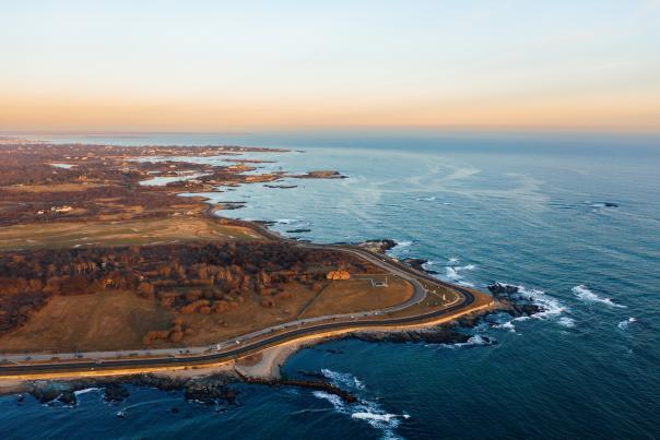Aerial View Of Ocean Drive Sunset In Newport, RI
