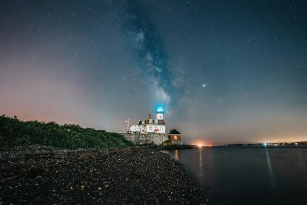 Rose Island Lighthouse at Night in Newport Rhode Island