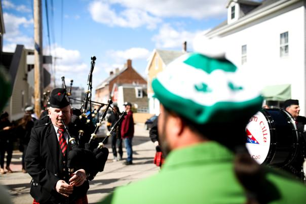Man with Bagpipes At St Patrick's Day Parade In Newport, RI