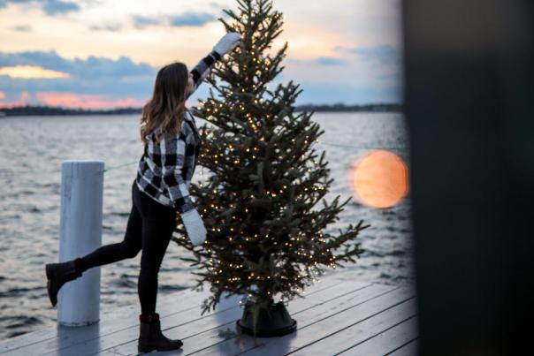 Women decorating a Christmas tree on a pier in Newport