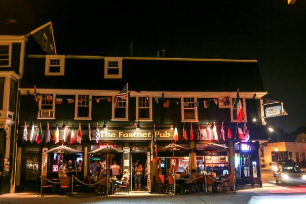 Fastnet Pub Front entrance at night in Newport, RI