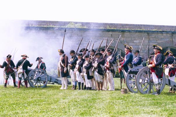 Reenactors Firing Cannon At Fort Adams In Newport, RI