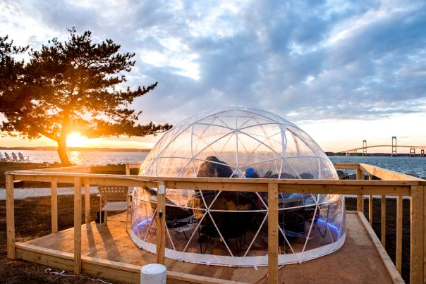 Igloo Pop-Up On The Waters Edge Overlooking Sunset