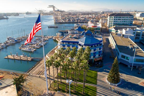 Jack London Square and cranes aerial