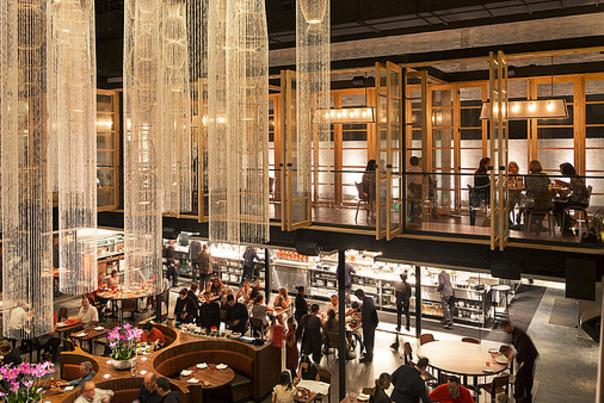 Interior dining area of Morimoto Asia restaurant in Disney Springs