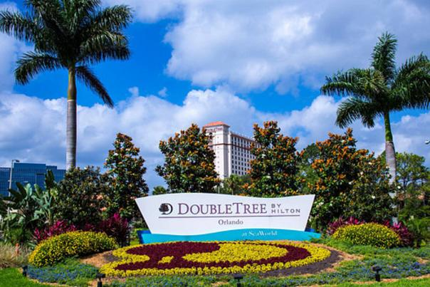 DoubleTree by Hilton Orlando at SeaWorld outdoor sign during day