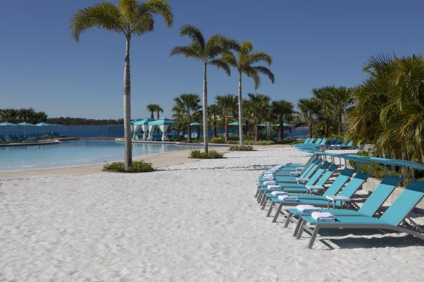 Pool at Fins Up Beach Club at Margaritaville Resort Orlando. Photo by CJ Walker.