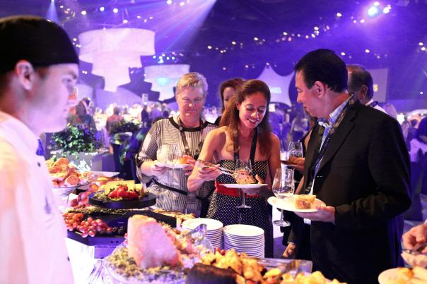 Guests who book reserved seats in the Party for the Senses Wine View Lounge enjoy early admission, a private table, specialty cocktail toast, premium bar and artisanal cheese station, plus other extras during the popular grand tasting event. Each event, held at the park's World Showplace, promises an evening of exotic taste treats by Disney and celebrity chefs; wines, beers and other beverages from around the world along with exciting live themed entertainment.  Party for the Senses events are scheduled on select Saturdays during the festival.