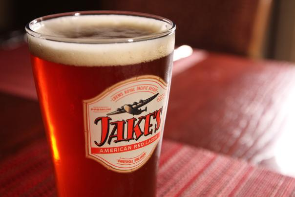 Close up of a glass of beer from Jake's at Loews Royal Pacific Resort at Universal Orlando