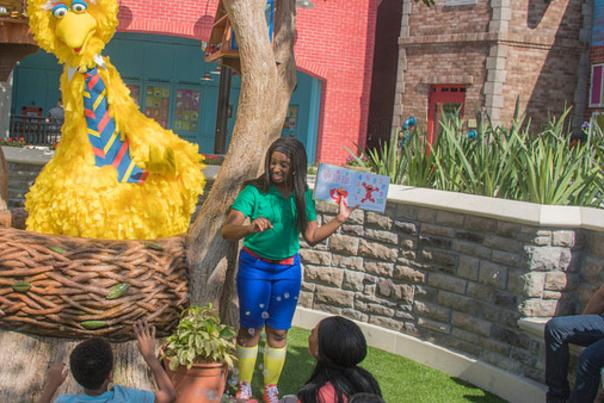 Sesame Street at SeaWorld Orlando featuring story time with Big Bird.
