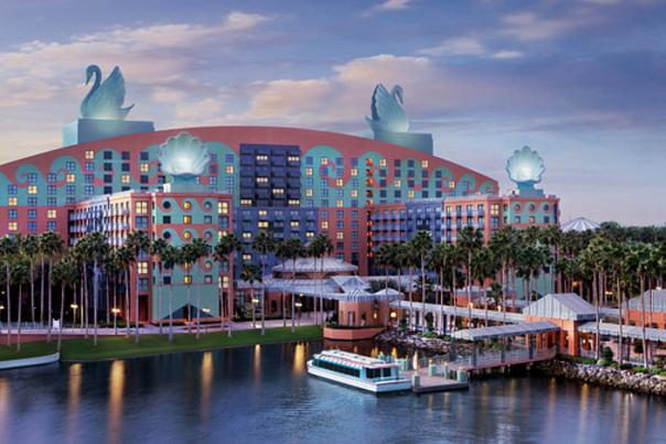 Walt Disney World Swan and Dolphin Resort exterior with lake