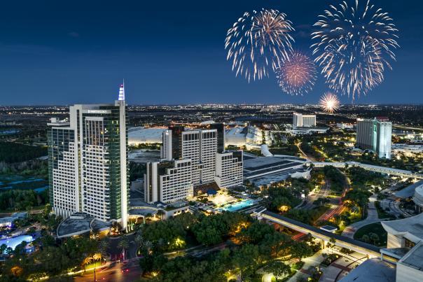 layered photoshop file of Push/Visit Orlando Hotel Drone footage of Hyatt Regency Orlandowith fireworks