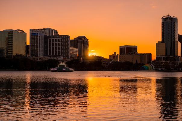 Sunset at Lake Eola in Downtown Orlando