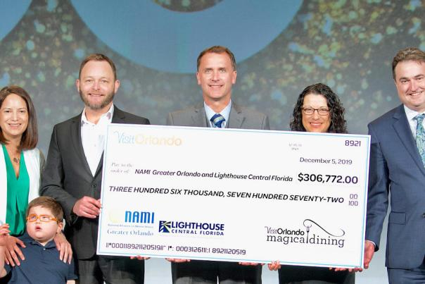 Magical Dining charities presented with a check during the 2019 Annual Meeting and Luncheon.