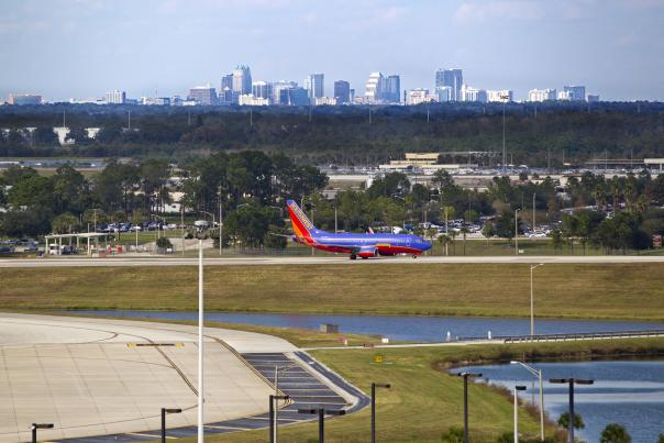 Orlando International Airport airplane on the runway