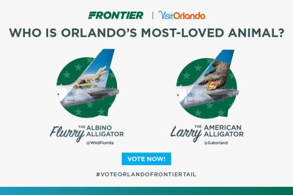 Who is Orlando's Most-Loved Animal? blog graphic for Frontier and Visit Orlando co-sponsored promotion