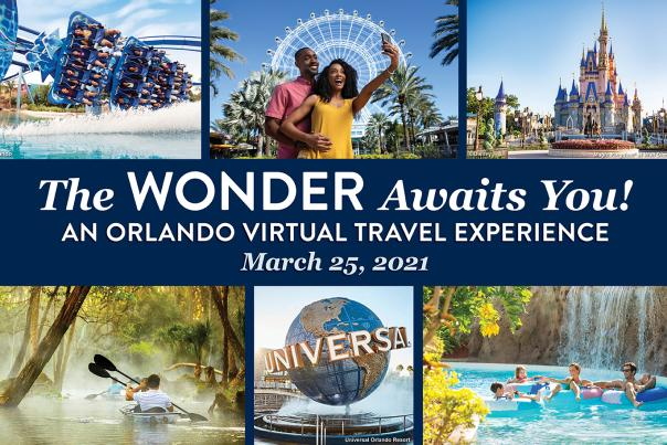 The Wonder Awaits You! An Orlando Virtual Travel Experience banner for VisitOrlando.com - desktop size