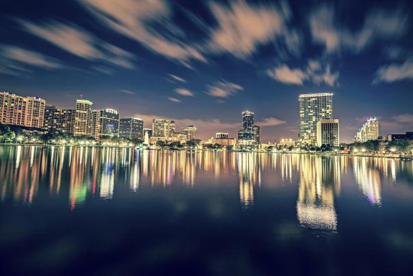 Downtown Orlando Lake Eola skyline at night