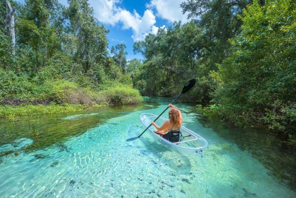 Bella Bucchiotti xoxoBella travel blogger on a clear kayak