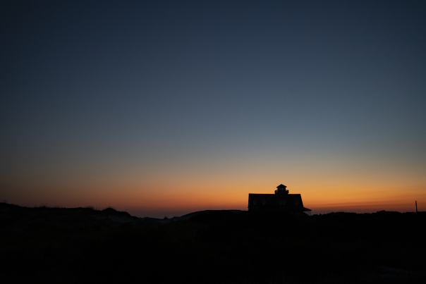 silhouette oregon inlet house sunrise