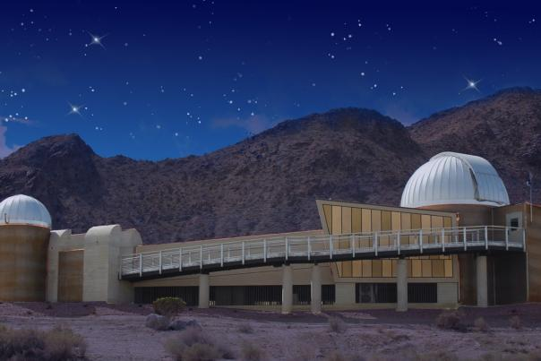 Exterior of Rancho Mirage Observatory at Night