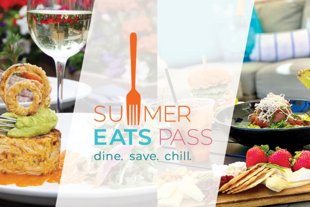 Plated food and cocktails with Summer Eats Pass logo