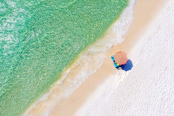Aerial beach umbrella