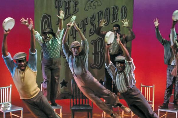 Members of Phoenix's Black Theatre Troupe perform a production of Scottsboro Boys.