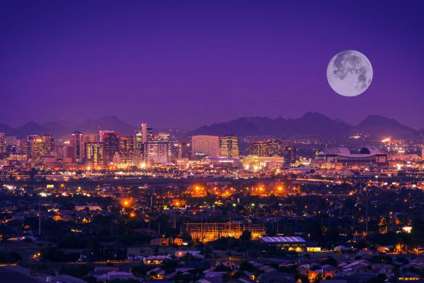 Downtown Phoenix Skyline with Full Moon Header